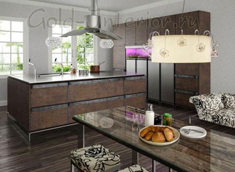 Тёмное напольное покрытие в интерьере кухни