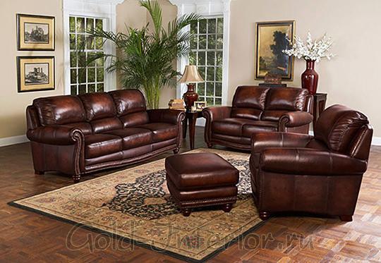 Тёмно-коричневый кожаный диван и кресла