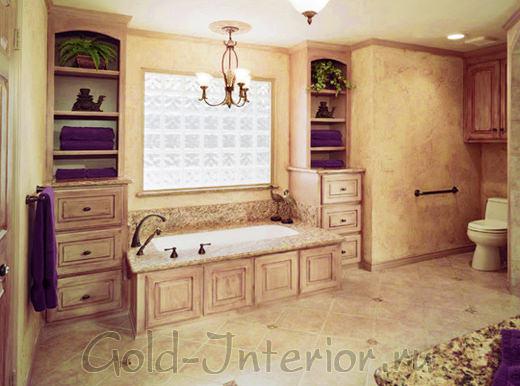 Тёмно-пурпурный, песочный, слоновая кость - цветовая палитра в ванной