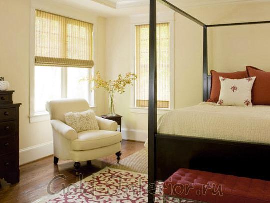 Терракота + ваниль в интерьере спальни