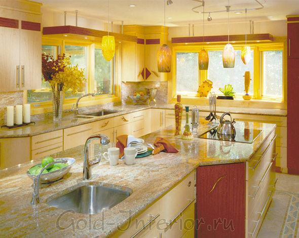Терракотовый и канареечный цвет в интерьере кухни