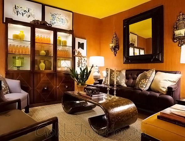 Терракотовый + янтарный + коричневые оттенки в интерьере гостиной