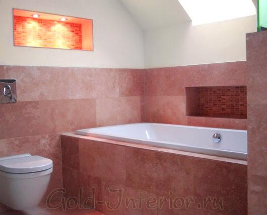 Терракотовый и песочный цвет в декоре ванны с туалетом