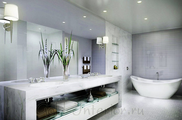 Точечные светодиоды в декоре ванной