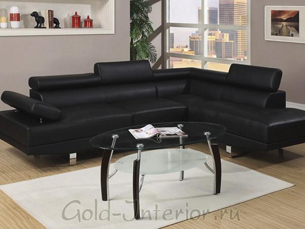 Угловой чёрный диван в интерьере