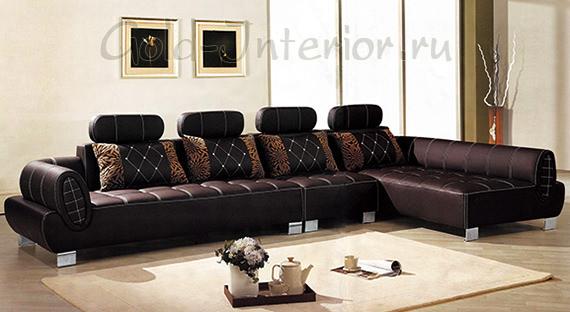 Угловой диван из анилиновой кожи