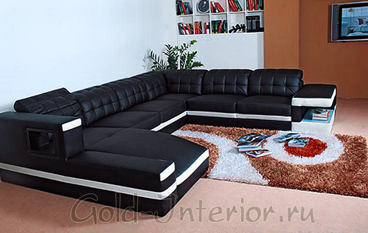 Угловой диван с вращающимися подлокотниками