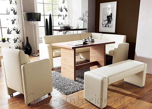Угловой диван, скамья и кресло из белой кожи