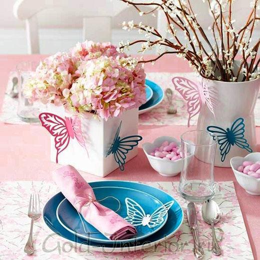 Украшение для стола - бабочки из цветной бумаги