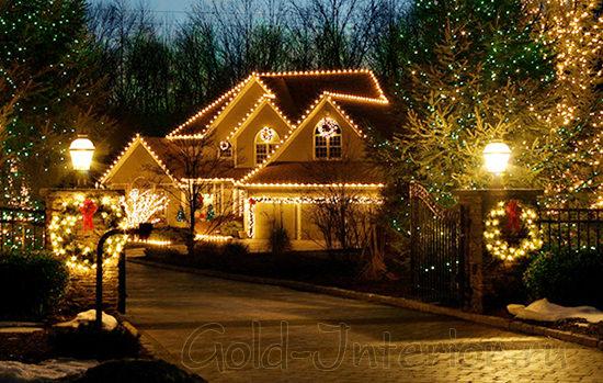 Украшение светодиодами дома и придомовой территории
