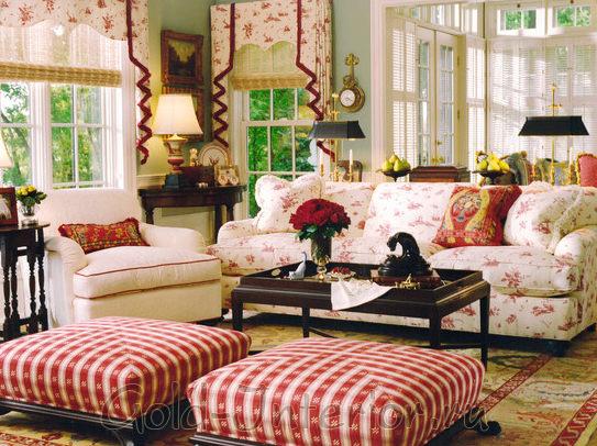 Узоры стиля кантри в интерьере гостиной