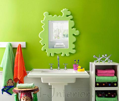 В дизайне интерьера ванной: салатовый + яркие краски