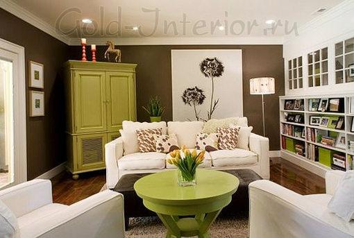 В интерьере гостиной фисташковый, шоколадный и белый цвет