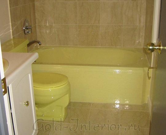 В интерьере объединённой ванной: бежевый + жёлтый цвет