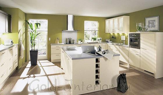 В оформлении кухни - цвет оливок и льна
