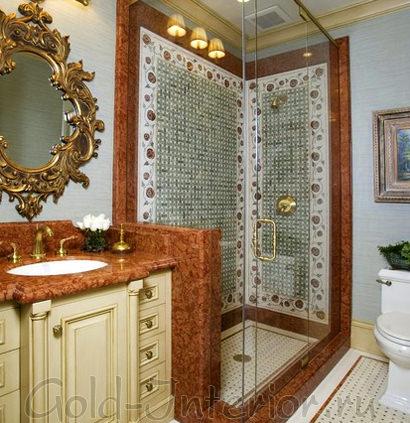 В совмещённой ванной с туалетом применён турецкий стиль