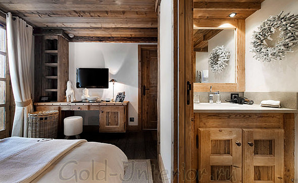 Ванная, кабинет и спальня в стиле шале