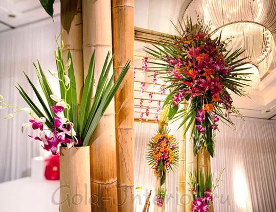 Вазы из стеблей бамбука для декора интерьера