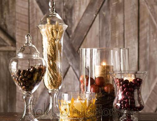 Вазы с наполнителем из желудей и кофейных зёрен
