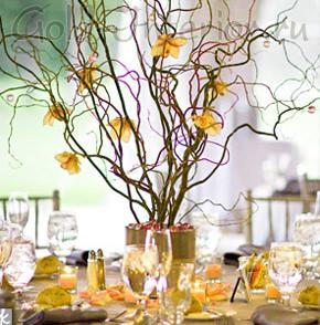 Ветки с жёлтыми цветами в интерьере