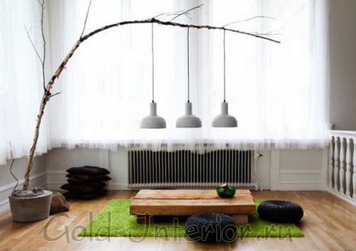 Ветки в минималистичном интерьере