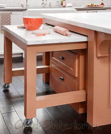 Выезжающая поверхность из-под стойки в виде стола