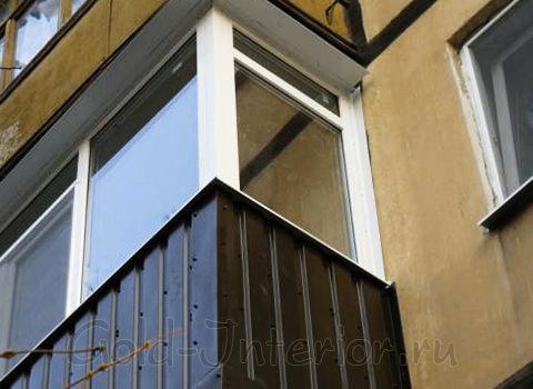 Внешняя отделка балконов профнастилом