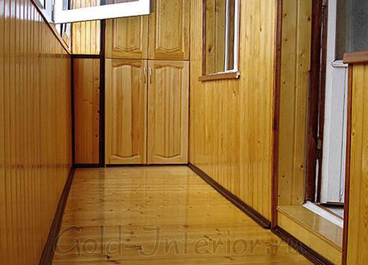 Внутренняя отделка лоджии деревянной вагонкой