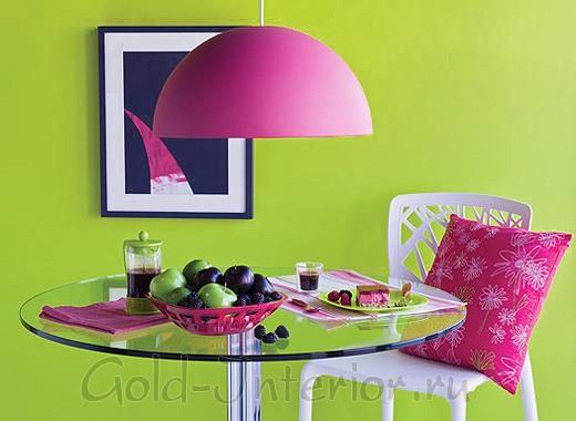 Яркий дизайн интерьера: фуксия + салатовый
