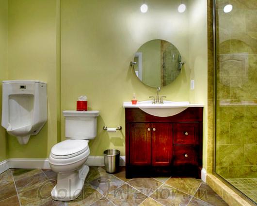 Соломенный, тёмно-красный и зелёные оттенки в декоре ванной с туалетом