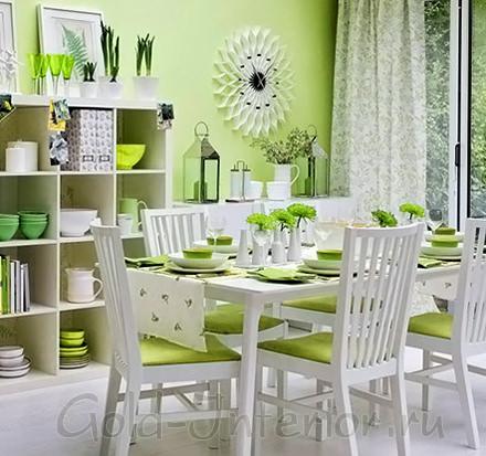 Зелёный + салатовый цвет в декоре кухни