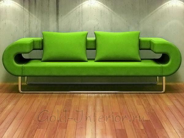 Зелёный диван в интерьере