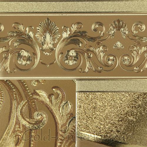Золотое покрытие на обоях для гостиной